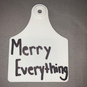 """(3/$20) white """"merry everything"""" cow tag keychain"""